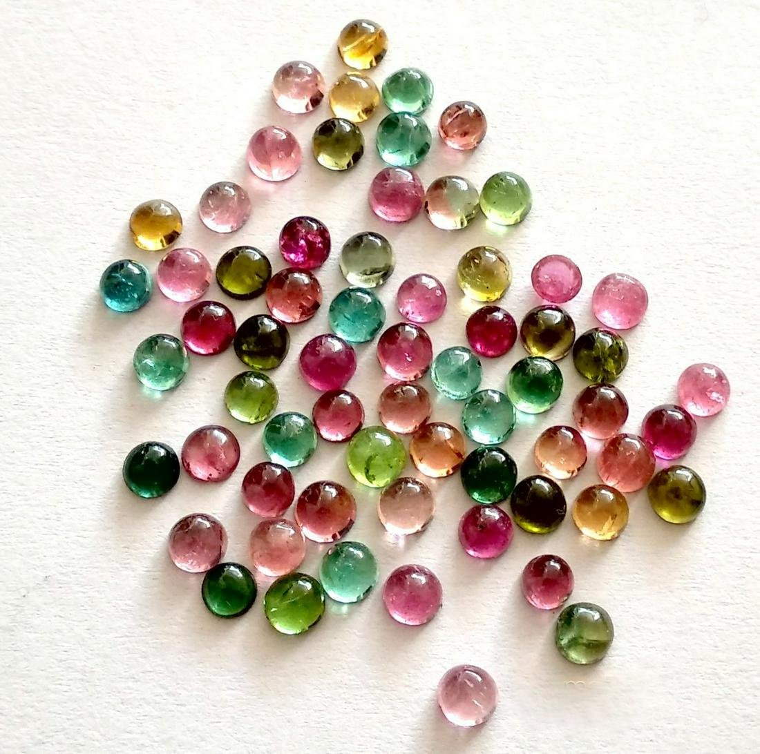 Natural Multi Color Tourmaline 3 MM Round Cabochon Lot
