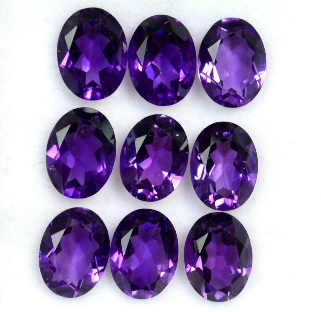 Natural Purple Amethyst 10x14 MM Oval Cut Loose