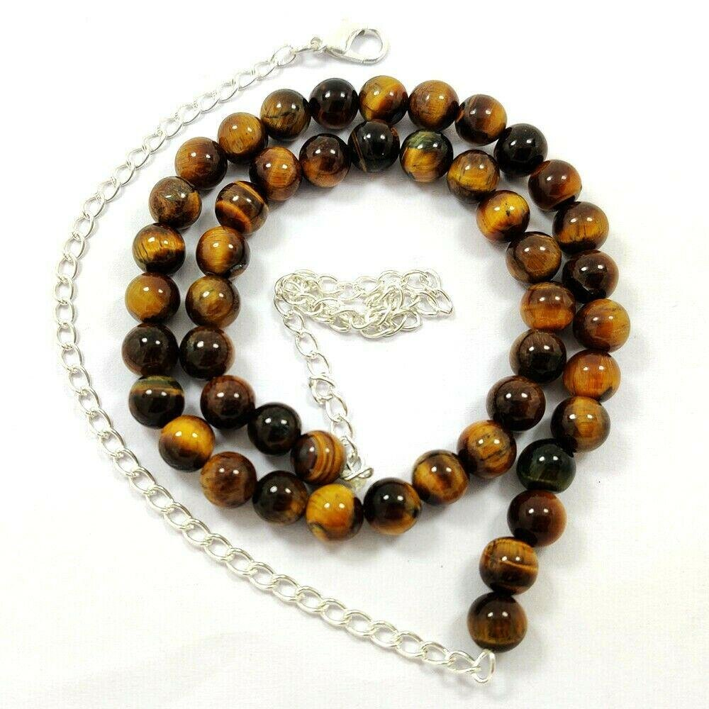 TIGER'S EYE GEMSTONE 8 MM ROUND BEADS NECKLACE