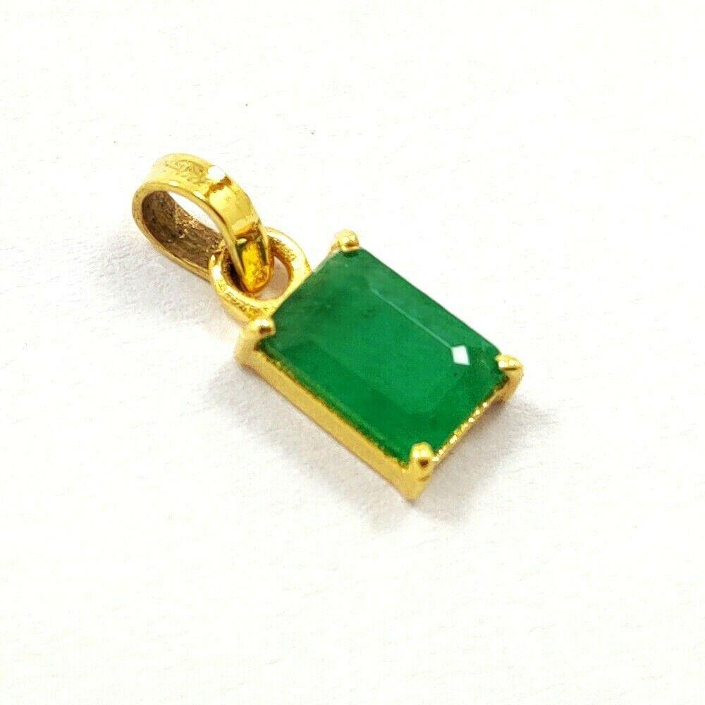 NATURAL GREEN EMERALD 14 KT YELLOW GOLD HANDMADE