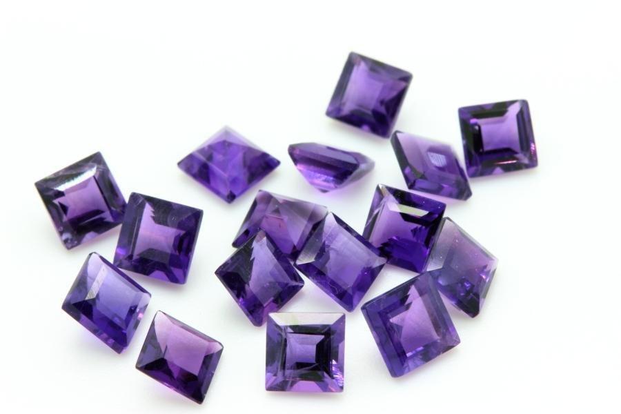Natural Purple Amethyst 5x5 MM Square Cut Loose