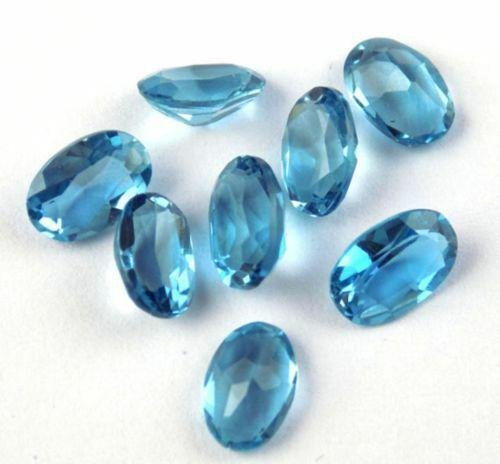 Natural Blue Topaz 6x4 MM Oval Cut Loose Gemstone Lot