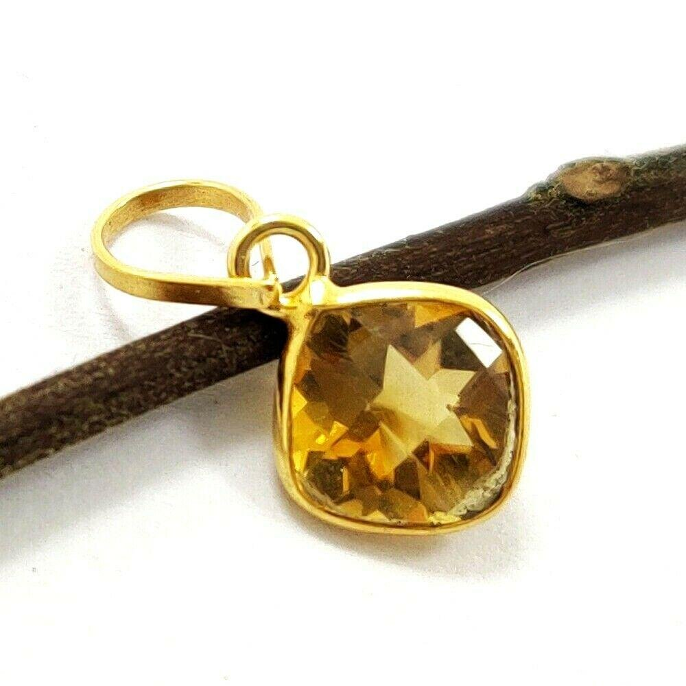 NATURAL CITRINE 14 KT YELLOW GOLD HANDMADE PENDANT