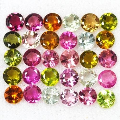 Natural Multi Color Tourmaline 4 MM Round Cut Loose Lot