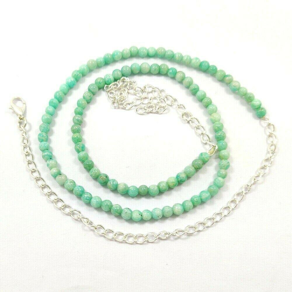 AMAZONITE GEMSTONE 4 MM ROUND BEADS NECKLACE