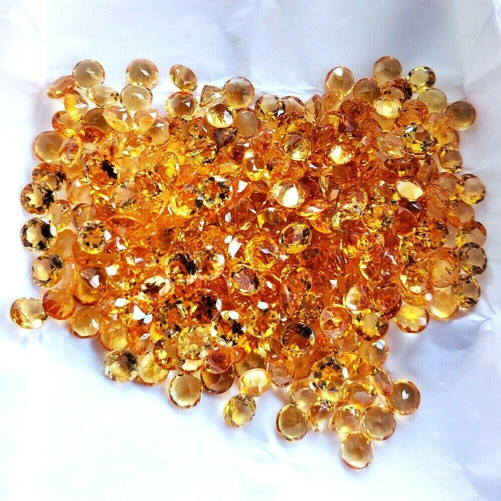 Natural Citrine 8 MM Round Cut 200 Cts.