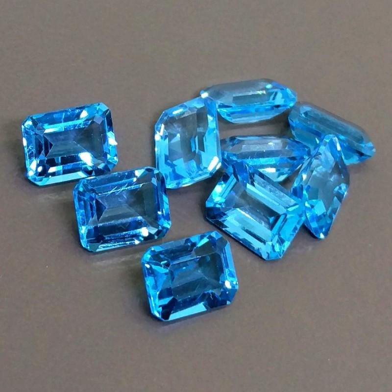 Natural Blue Topaz 7x5 MM Octagon Cut Loose Gemstone