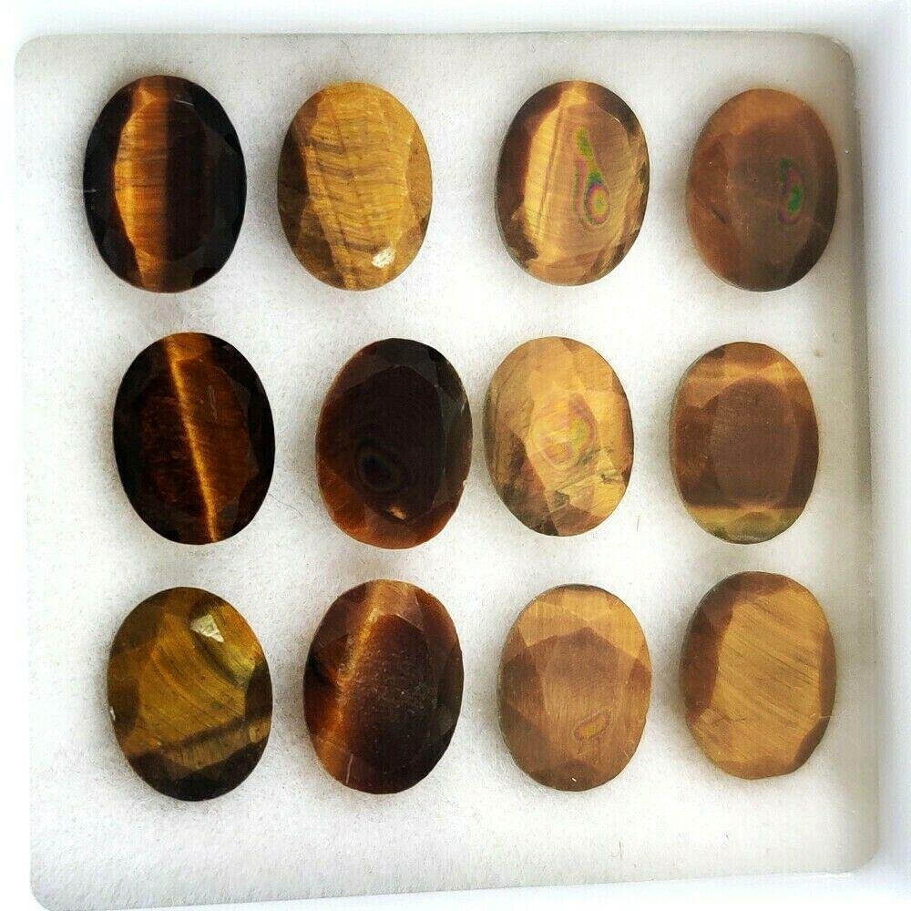 Natural Tiger's Eye 7x5 MM Oval Cut Loose Gemstone Lot