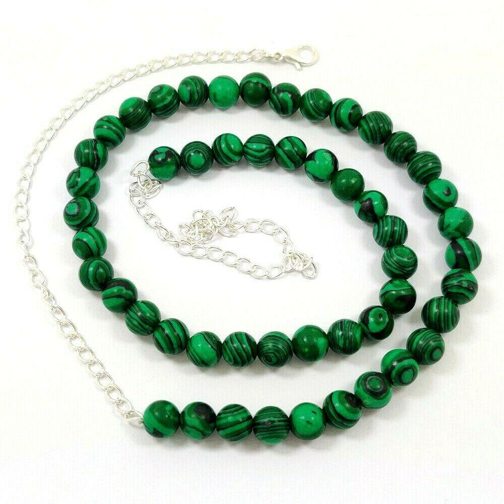 MALACHITE GEMSTONE 8 MM ROUND BEADS NECKLACE