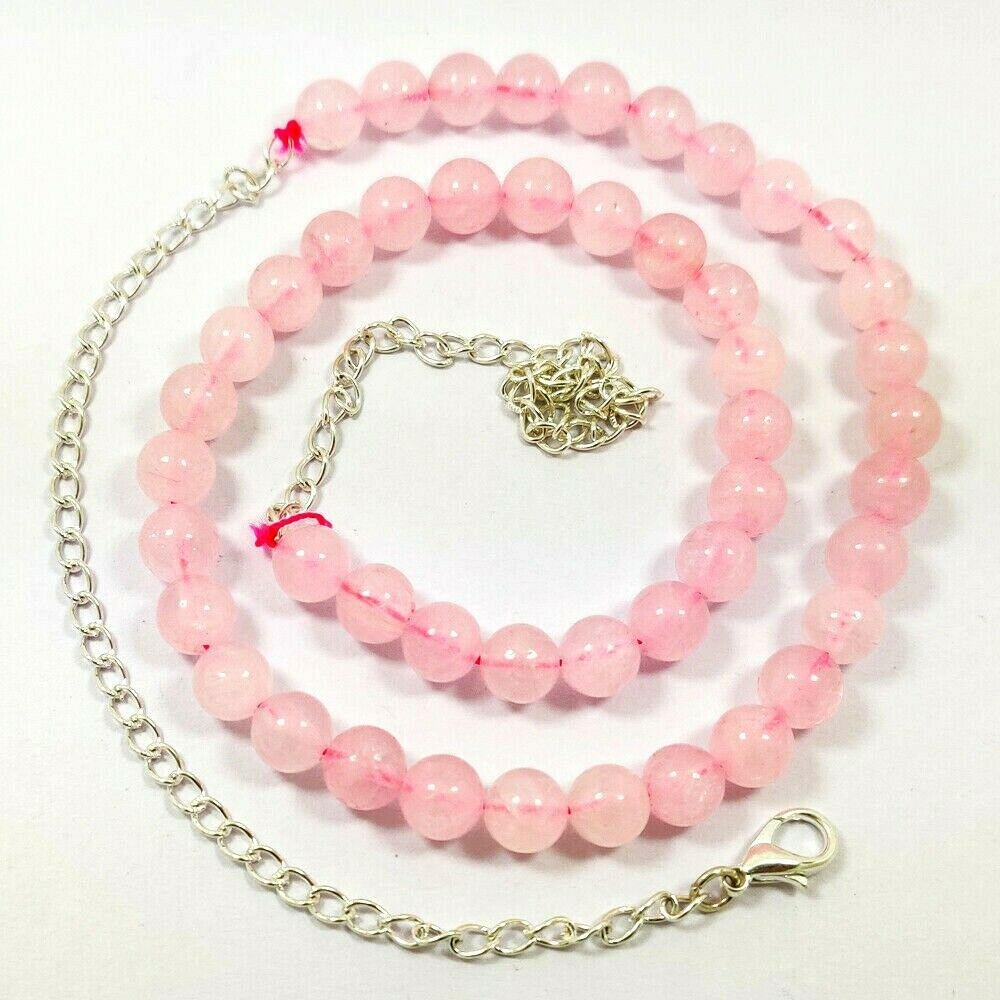 ROSE QUARTZ GEMSTONE 8 MM ROUND BEADS NECKLACE