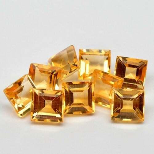 Natural Yellow Citrine 5x5 MM Square Cut Loose Gemstone