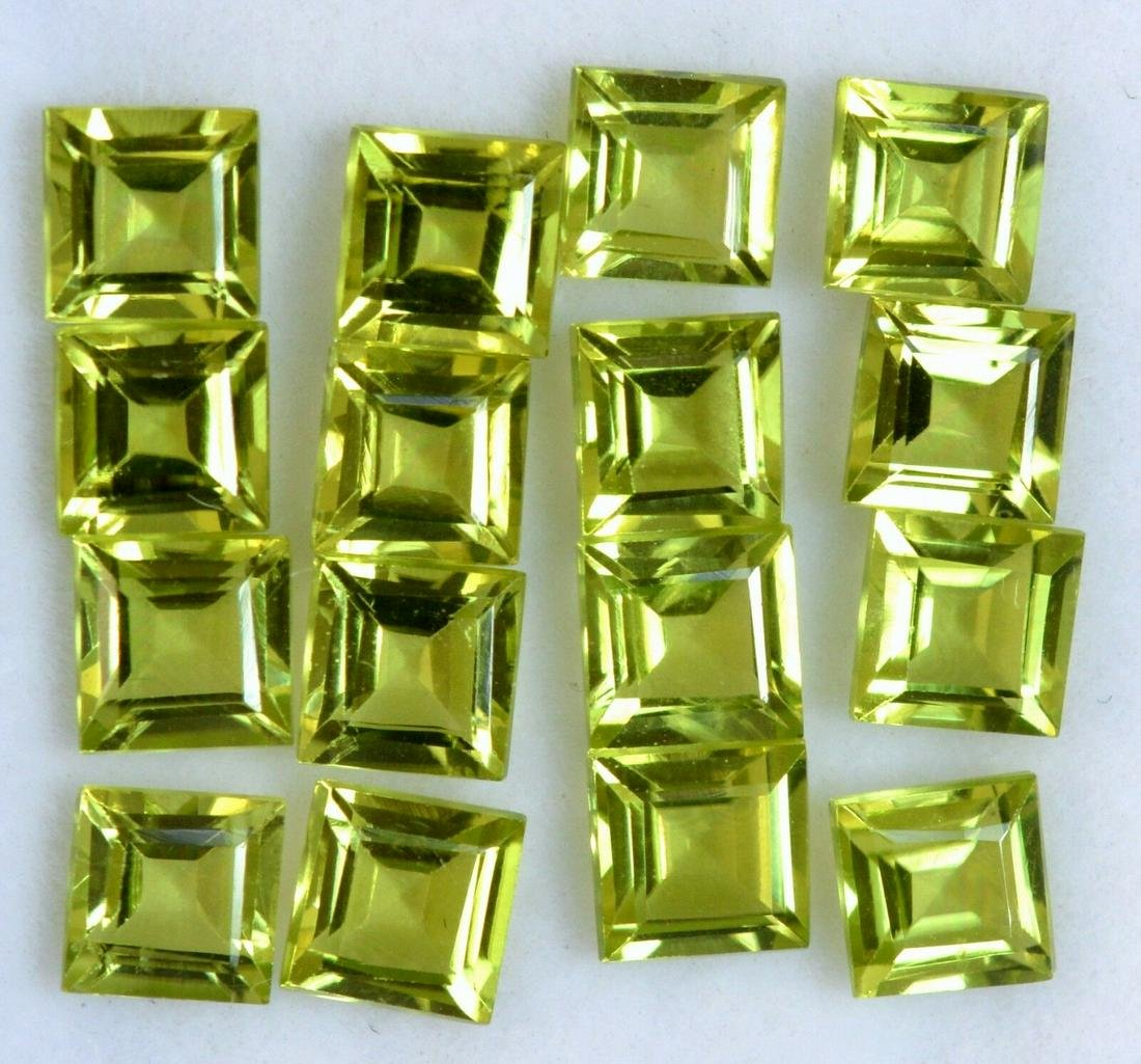 Natural Green Peridot 5x5 MM Square Cut Loose Gemstone