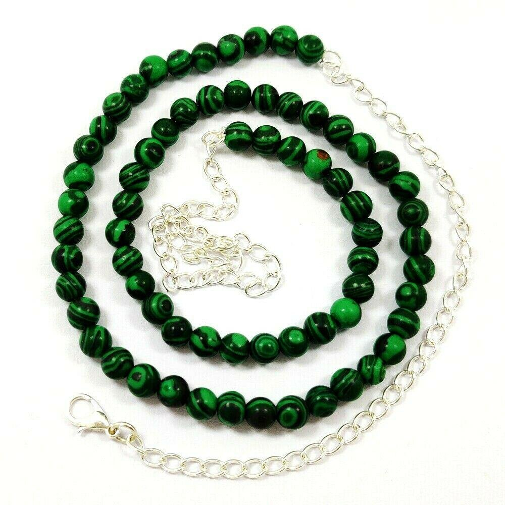 MALACHITE GEMSTONE 6 MM ROUND BEADS NECKLACE