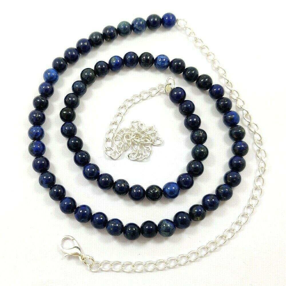 LAPIS LAZULI GEMSTONE 6 MM ROUND BEADS NECKLACE