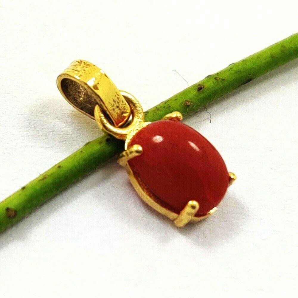 NATURAL RED CORAL GEMSTONE 14 KT YELLOW GOLD HANDMADE
