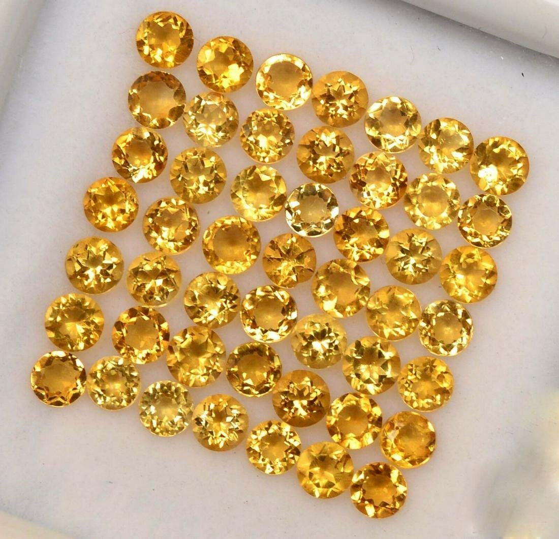 Natural Yellow Citrine 3.5 MM Round Cut Loose Gemstone