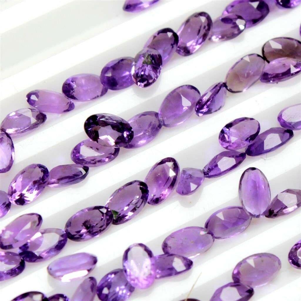 Natural Purple Amethyst 7x5 MM Oval Cut Loose Gemstone