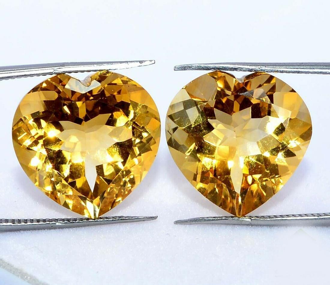 Natural Yellow Citrine 10x10 MM Heart Cut Loose