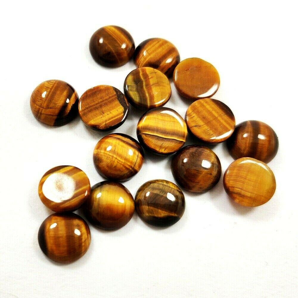 Natural Tiger's Eye 8 MM Round Cabochon Loose Gemstone