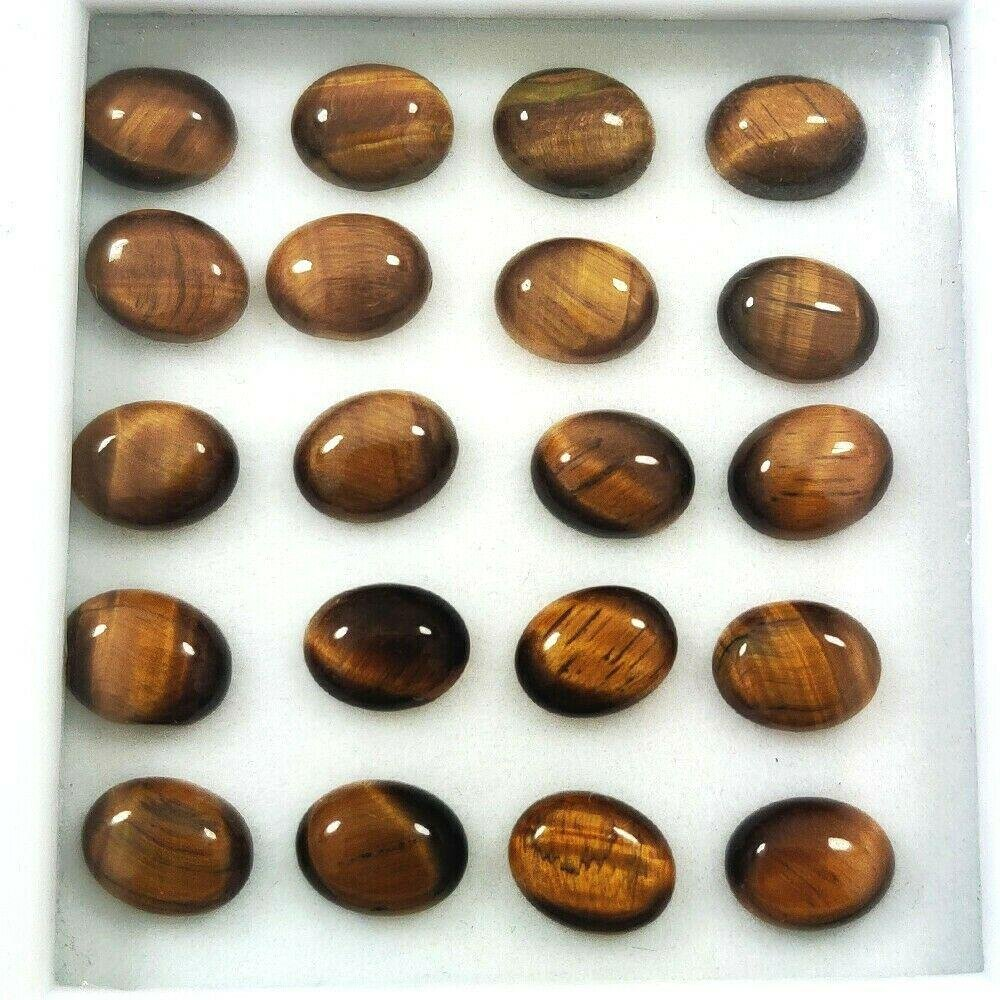 Natural Tiger's Eye 7x9 MM Oval Cabochon Loose Gemstone