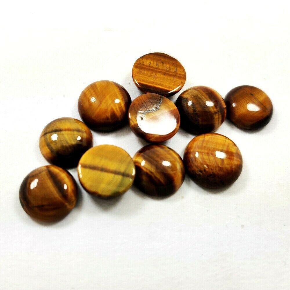 Natural Tiger's Eye 9 MM Round Cabochon Loose Gemstone