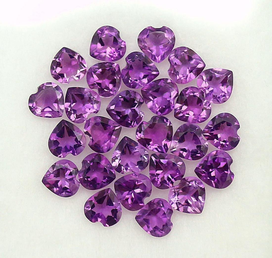 Natural Purple Amethyst 6x6 MM Heart Cut Loose Gemstone