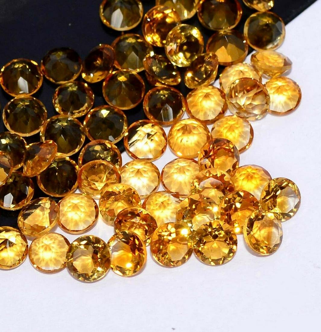 Natural Yellow Citrine 5 MM Round Cut Loose Gemstone