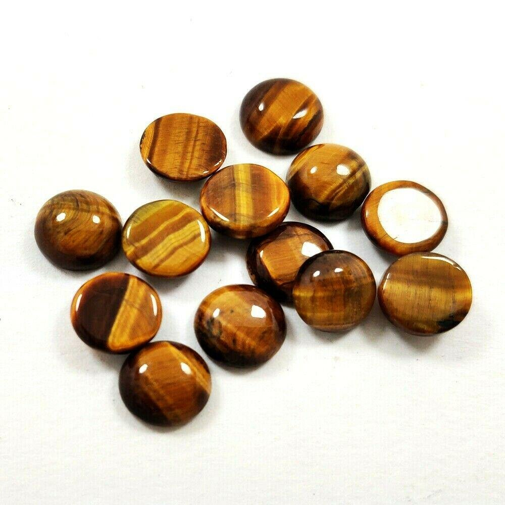 Natural Tiger's Eye 10 MM Round Cabochon Loose Gemstone