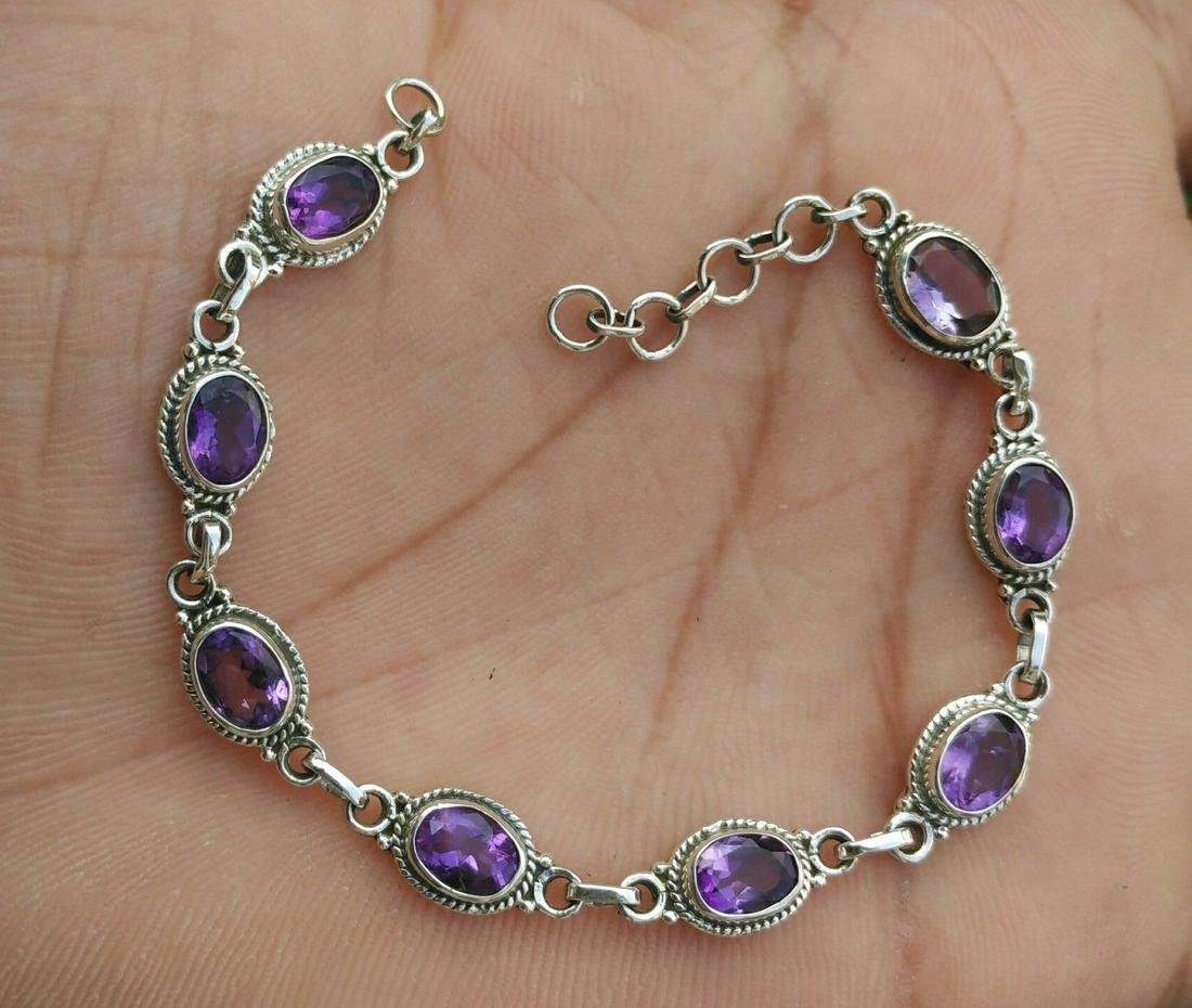 Beautiful Natural Amethyst Handmade 925 Sterling Silver