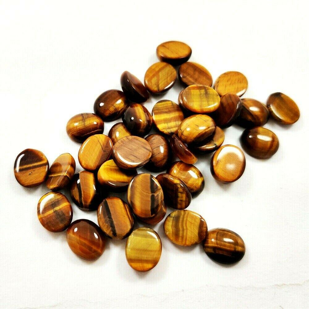 Natural Tiger's Eye 9x11 MM Oval Cabochon Loose