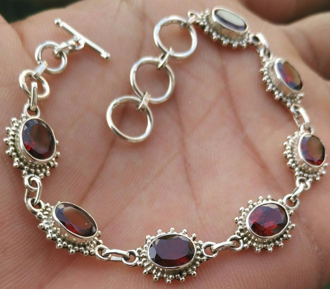 Beautiful Natural Garnet Handmade 92.5 Sterling Silver
