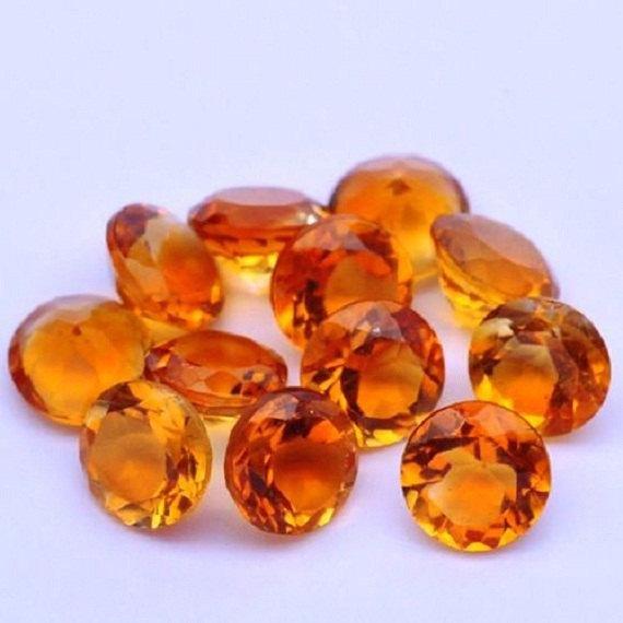 Natural Yellow Citrine 8 MM Round Cut Loose Gemstone