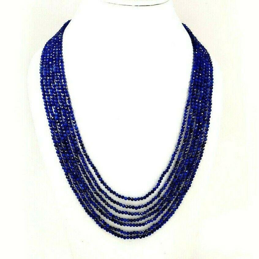 LAPIS LAZULI FACETED BEADS NECKLACE 240 CT, 7 STRAND