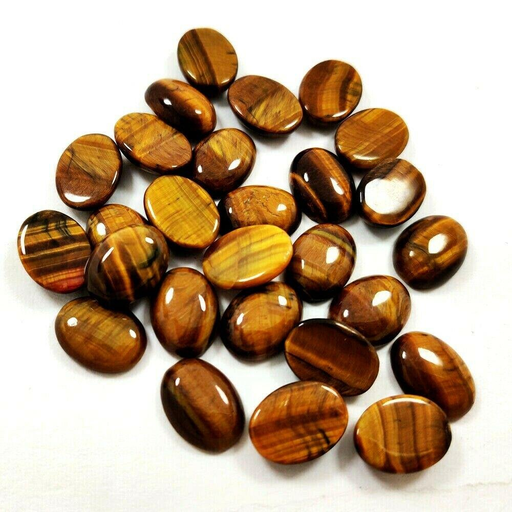 Natural Tiger's Eye 10x14 MM Oval Cabochon Loose
