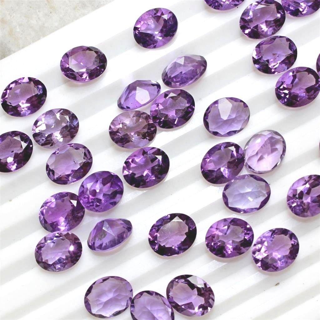 Natural Purple Amethyst 8x10 MM Oval Cut Loose Gemstone