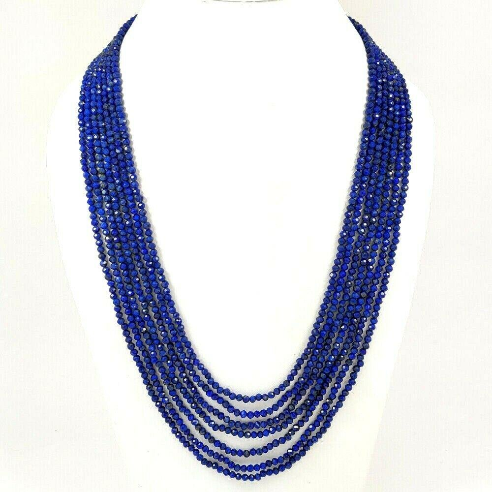 LAPIS LAZULI FACETED BEADS NECKLACE 279 CT, 7 STRAND