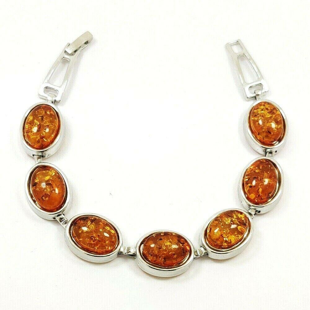 BALTIC AMBER GEMSTONE SILVER PLATED YELLOW BRACELET