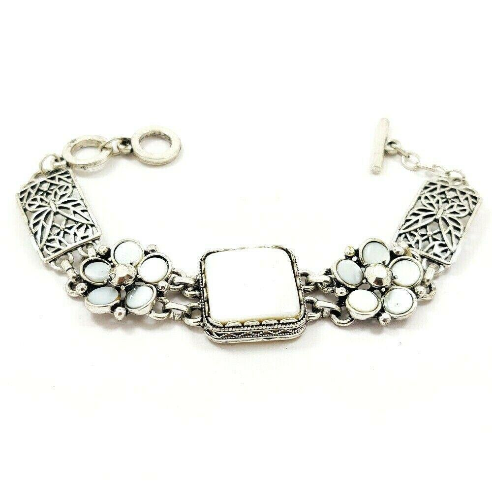 MOTHER OF PEARL GEMSTONE SILVER PLATED WHITE BRACELET
