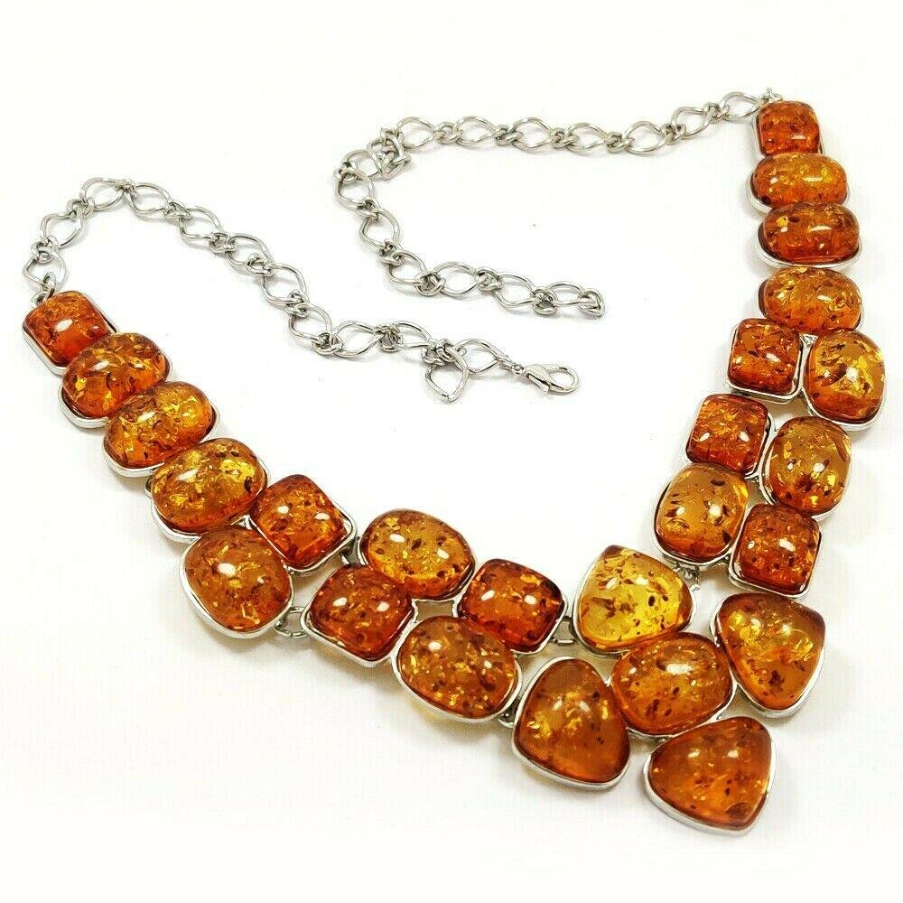 BALTIC AMBER GEMSTONE SILVER PLATED YELLOW NECKLACE