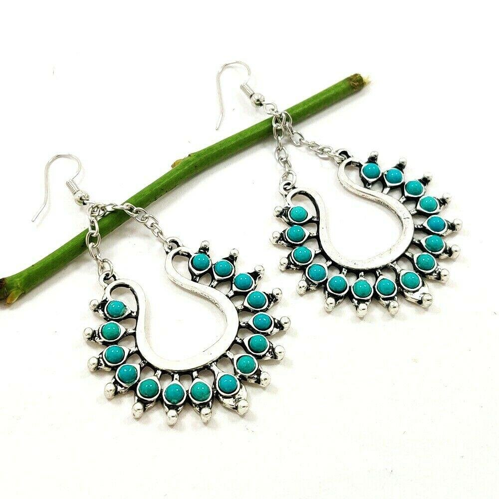 TURQUOISE GEMSTONE SILVER PLATED EARRING
