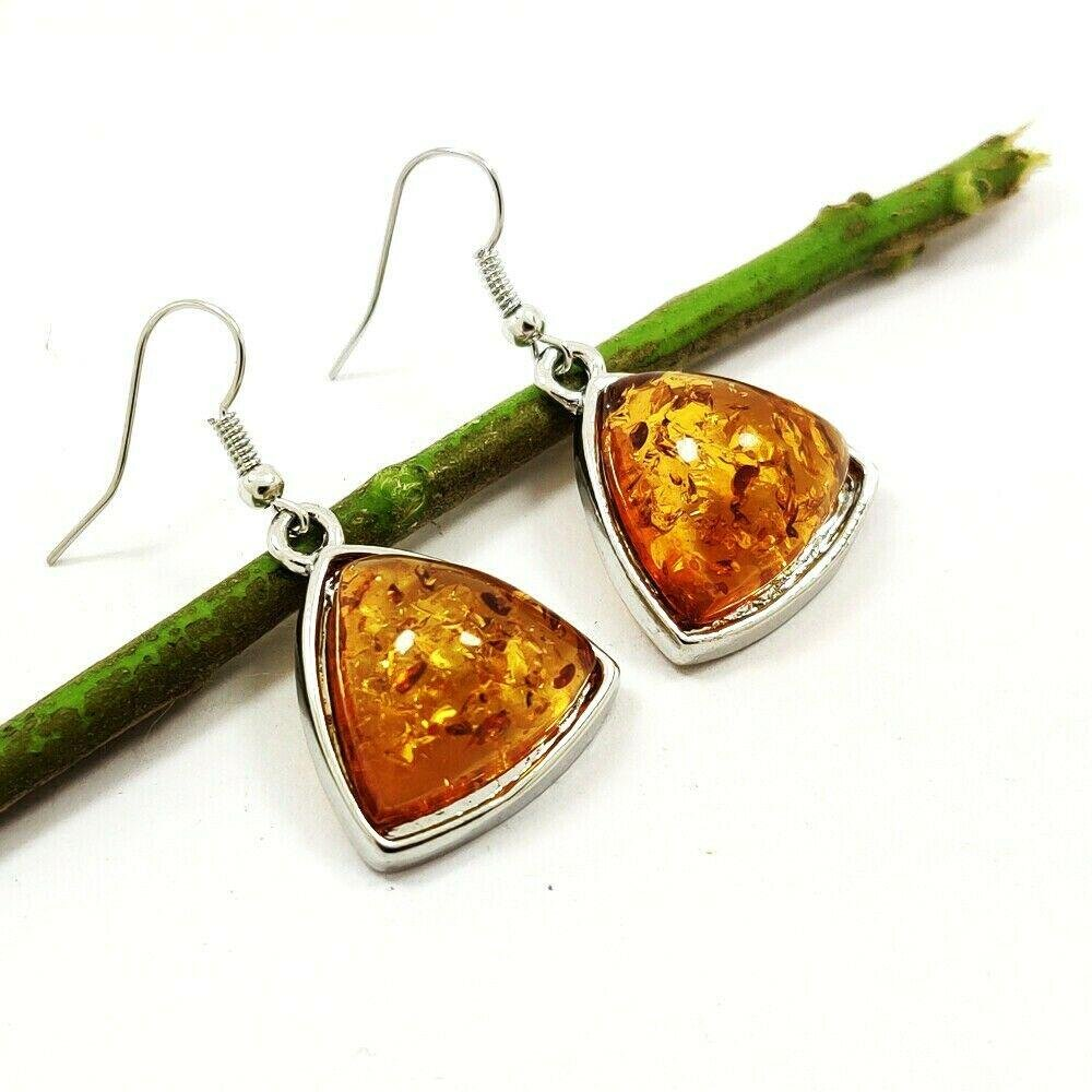BALTIC AMBER GEMSTONE SILVER PLATED HOOK EARRING