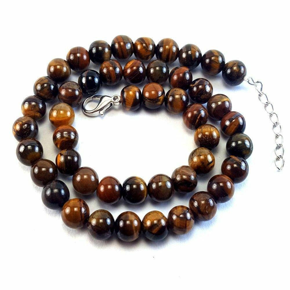 Natural Tiger's Eye Gemstone 8 mm Round Beads Necklace