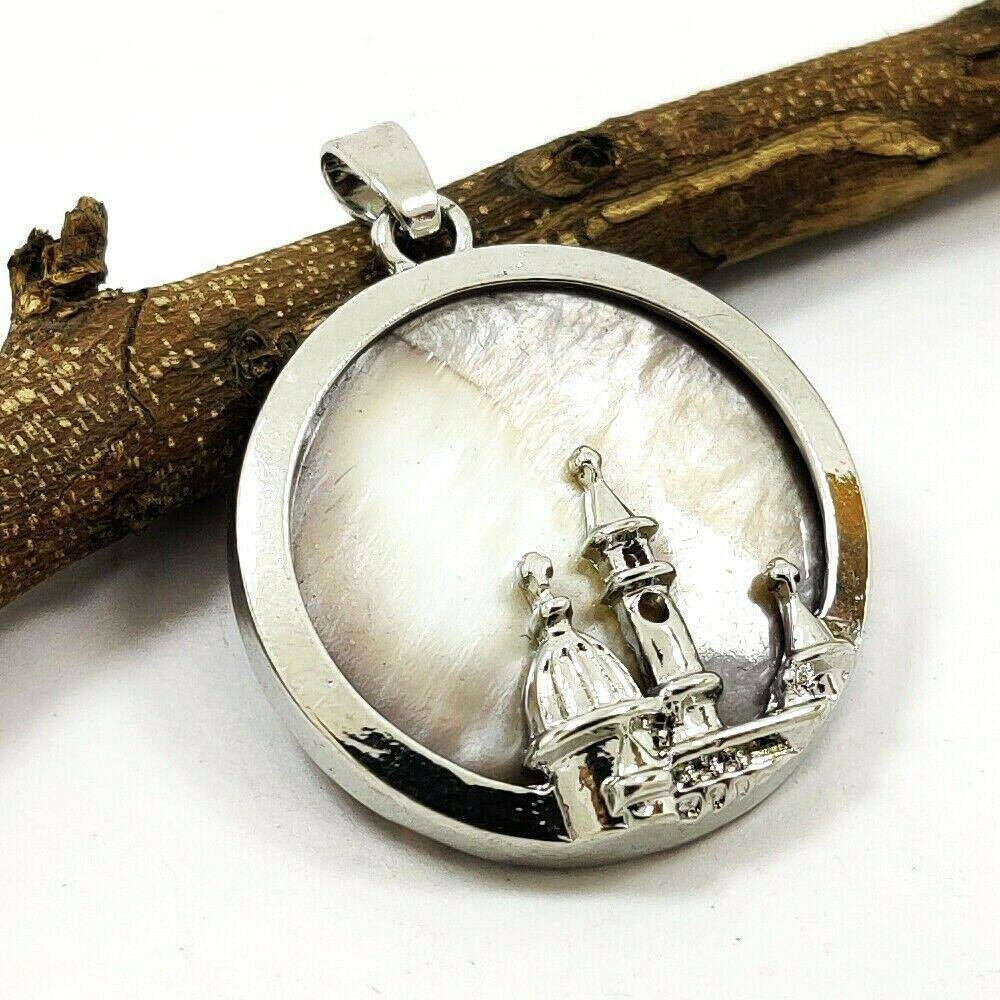 """MOTHER OF PEARL GEMSTONE SILVER PLATED PENDANT 1.5"""""""