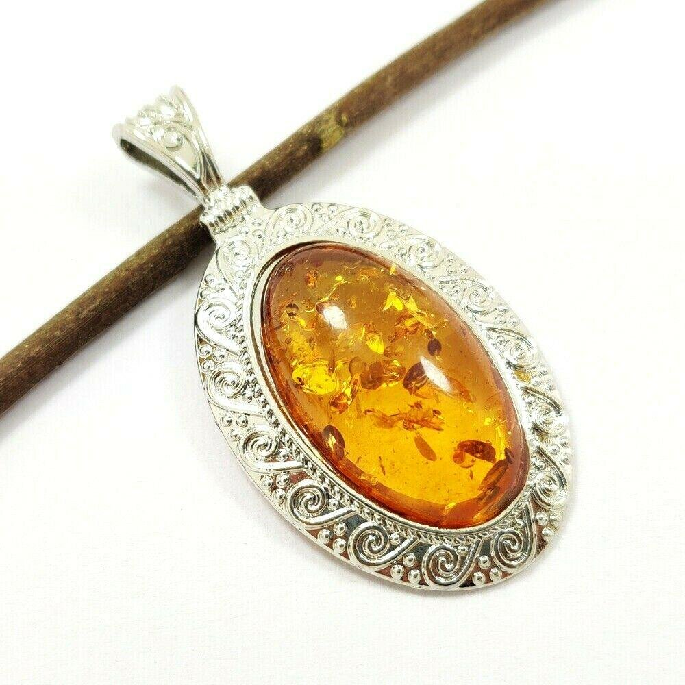 BALTIC AMBER GEMSTONE SILVER PLATED PENDANT JEWELRY