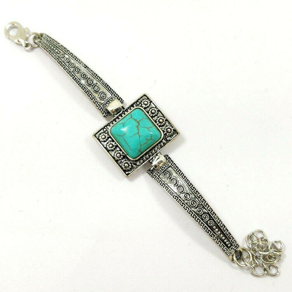 TURQUOISE GEMSTONE SILVER PLATED BLUE BRACELET