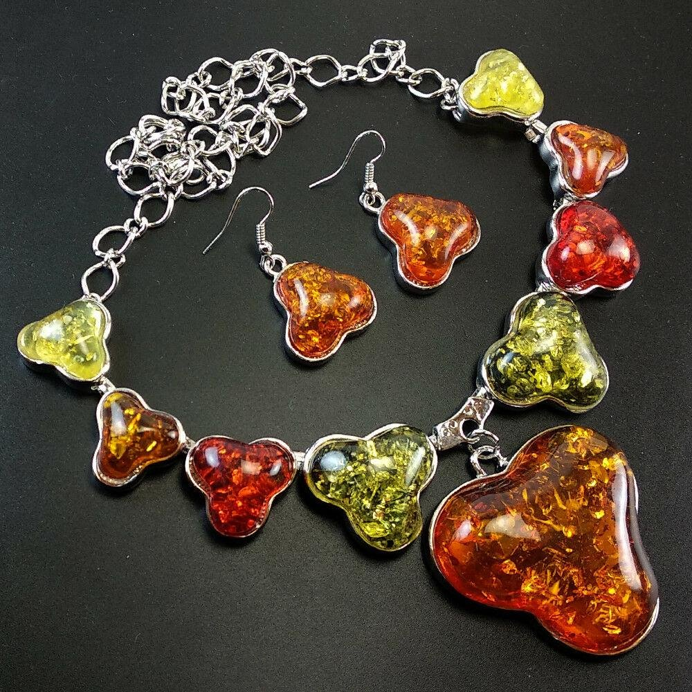 BALTIC AMBER GEMSTONE SILVER PLATED NECKLACE & EARRING