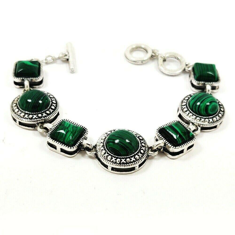 MALACHITE GEMSTONE SILVER PLATED GREEN BRACELET