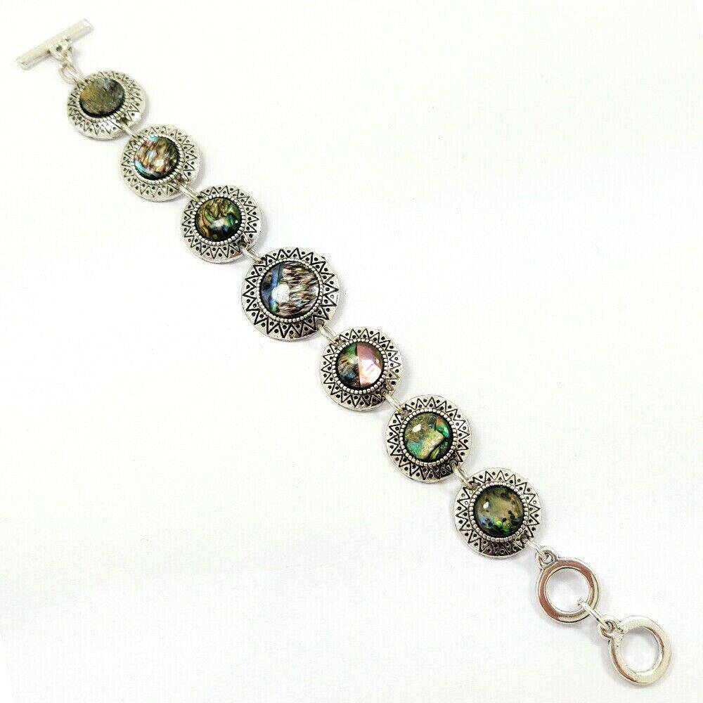 ABALONE SHELL GEMSTONE SILVER PLATED MULTICOLOR