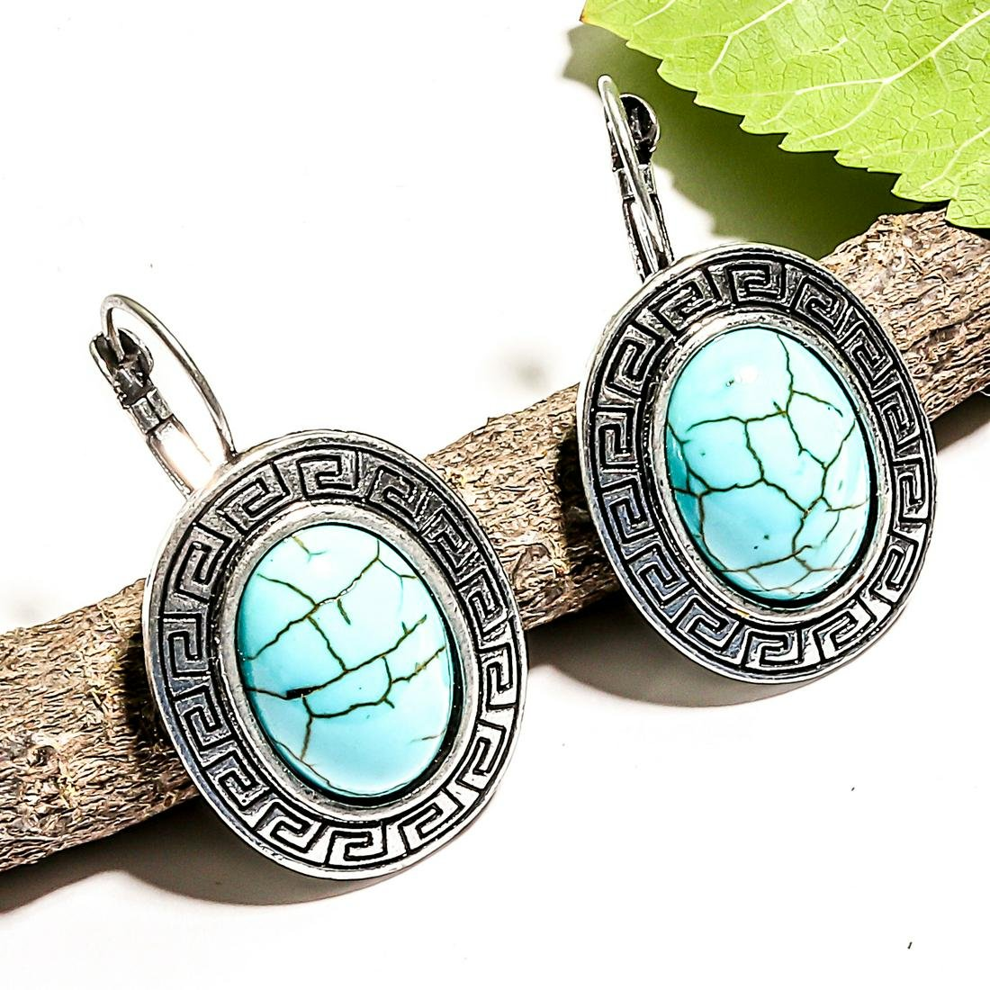 TURQUOISE GEMSTONE SILVER PLATED LEVER BACK EARRING