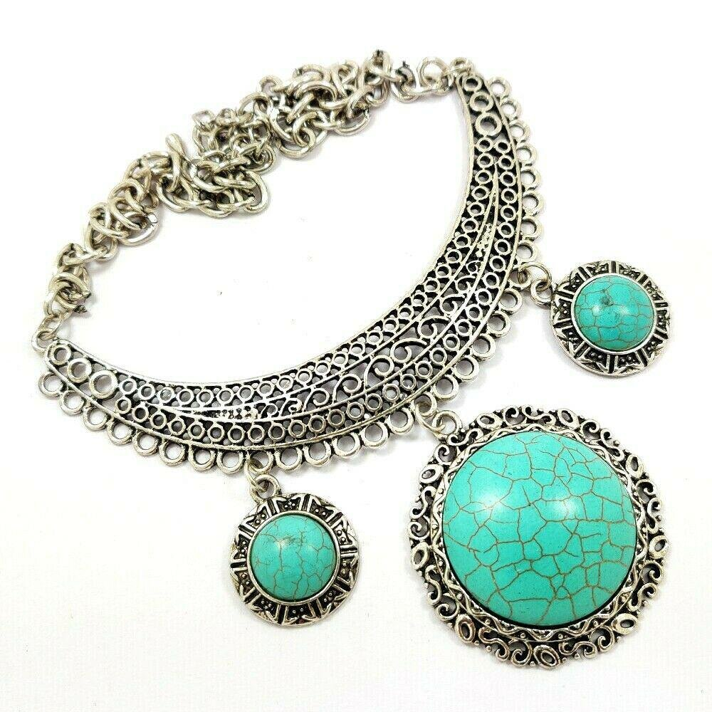 TURQUOISE GEMSTONE ANTIQUE STYLE NECKLACE